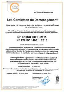 Certificat siege et reseau 9001 et 14001