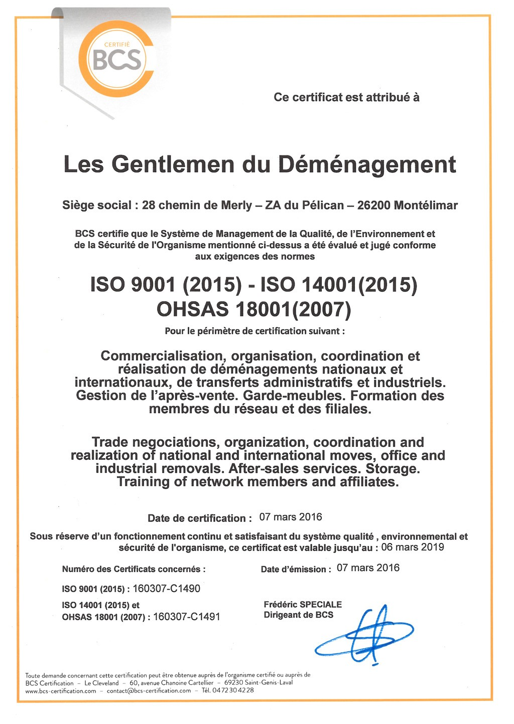 D M Nagement International Certification Afnor
