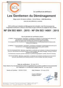 Certificat ISO 9001 & ISO 14001